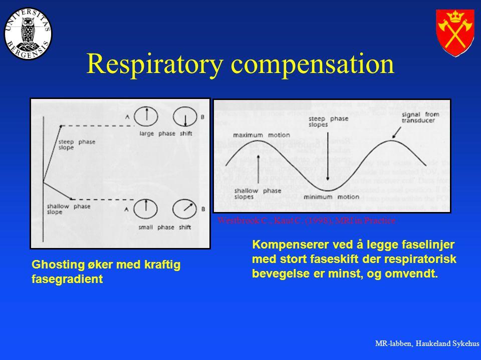 MR-labben, Haukeland Sykehus Respiratory compensation Ghosting øker med kraftig fasegradient Kompenserer ved å legge faselinjer med stort faseskift der respiratorisk bevegelse er minst, og omvendt.