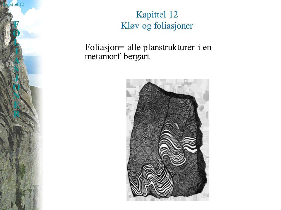 Kapittel 12 FOLIASJONERFOLIASJONER Kløv og foliasjoner Foliasjon= alle planstrukturer i en metamorf bergart