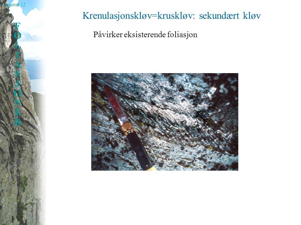 Kapittel 12 FOLIASJONERFOLIASJONER Krenulasjonskløv=kruskløv: sekundært kløv Påvirker eksisterende foliasjon