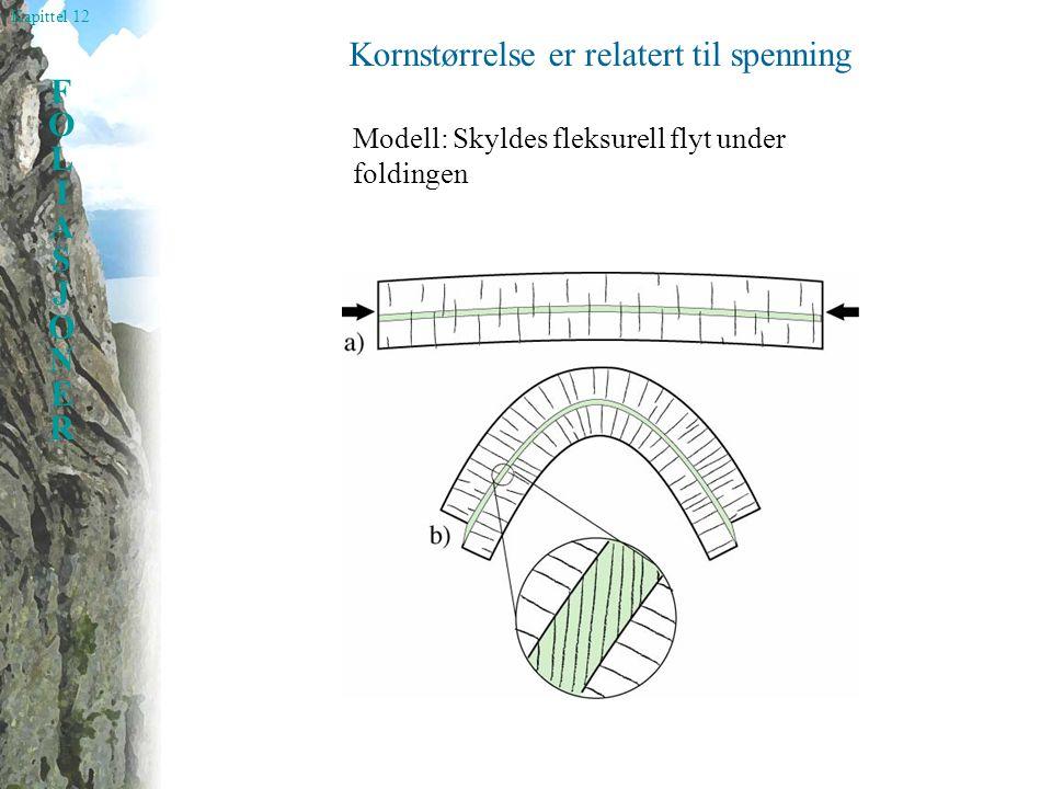 Kapittel 12 FOLIASJONERFOLIASJONER Kornstørrelse er relatert til spenning Modell: Skyldes fleksurell flyt under foldingen