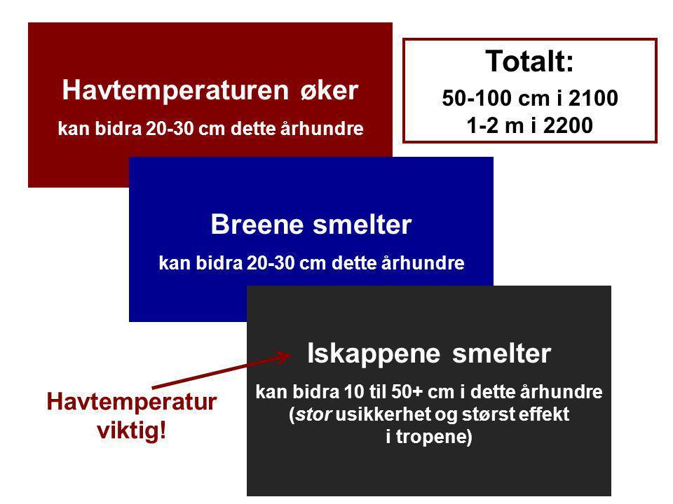 Helge Drange Geofysisk institutt Universitetet i Bergen Havtemperaturen øker kan bidra 20-30 cm dette århundre Breene smelter kan bidra 20-30 cm dette