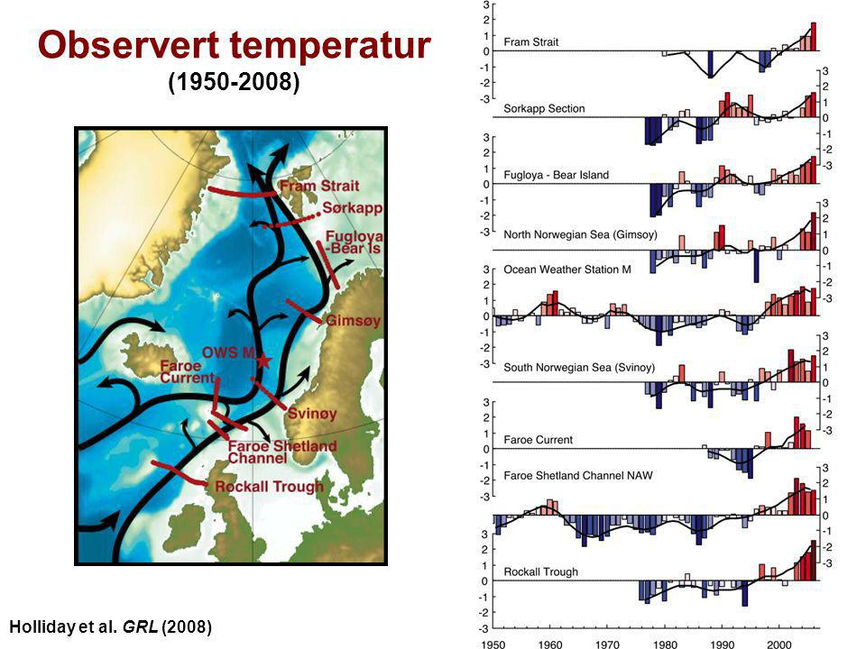 Helge Drange Geophysical Institute University of Bergen Observert temperatur (1950-2008) Holliday et al. GRL (2008)