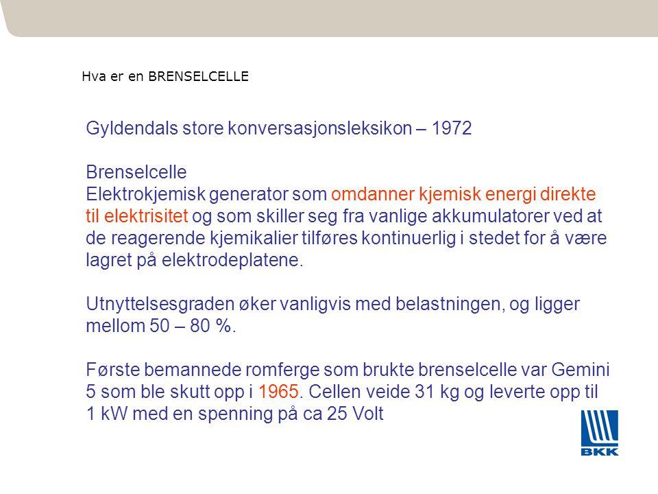 Gyldendals store konversasjonsleksikon – 1972 Brenselcelle Elektrokjemisk generator som omdanner kjemisk energi direkte til elektrisitet og som skille