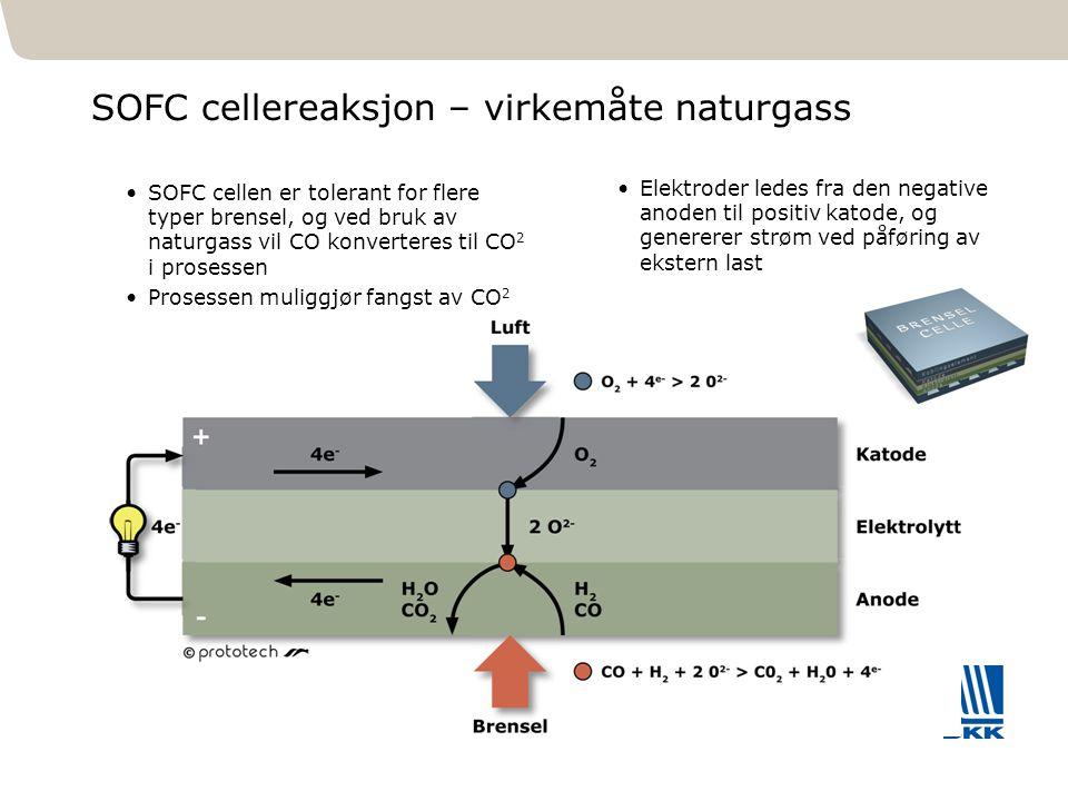 301 SOFC cellereaksjon – virkemåte naturgass SOFC cellen er tolerant for flere typer brensel, og ved bruk av naturgass vil CO konverteres til CO 2 i p