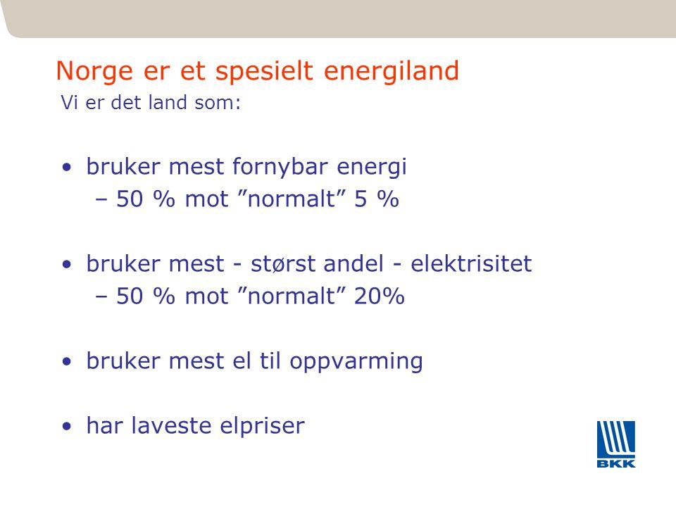 """41 Norge er et spesielt energiland Vi er det land som: bruker mest fornybar energi –50 % mot """"normalt"""" 5 % bruker mest - størst andel - elektrisitet –"""