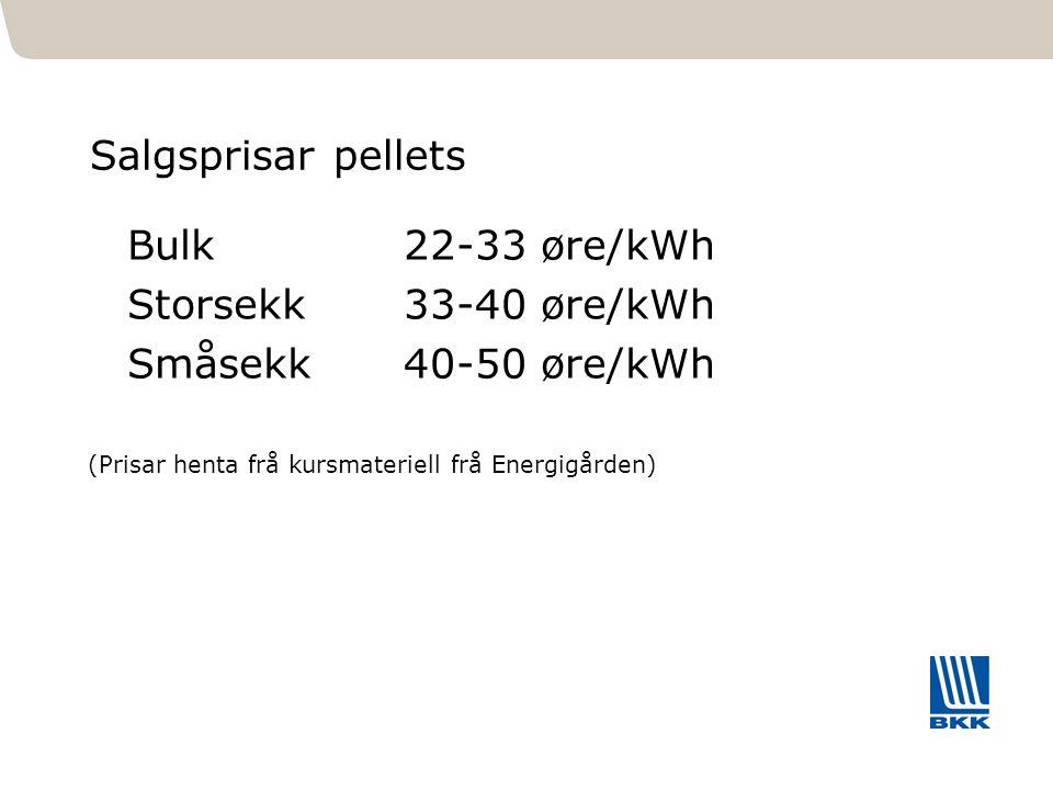 461 Salgsprisar pellets Bulk22-33 øre/kWh Storsekk33-40 øre/kWh Småsekk40-50 øre/kWh (Prisar henta frå kursmateriell frå Energigården)