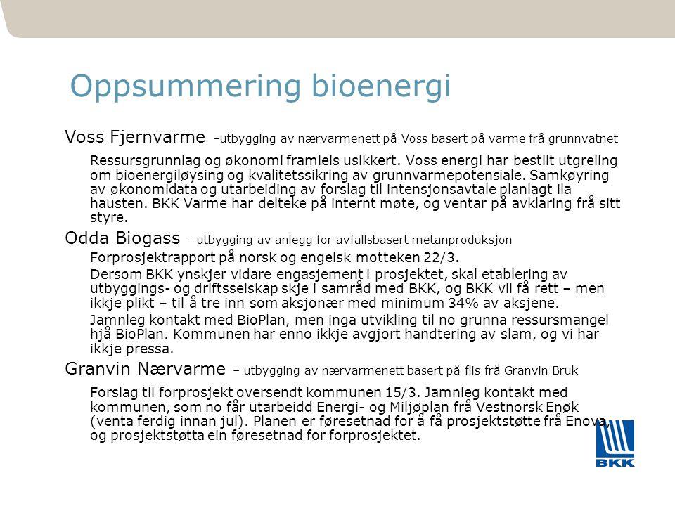 481 Oppsummering bioenergi Voss Fjernvarme –utbygging av nærvarmenett på Voss basert på varme frå grunnvatnet Ressursgrunnlag og økonomi framleis usik