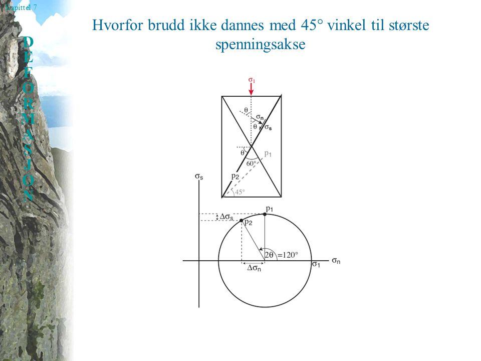 Kapittel 7 DEFORMASJONDEFORMASJON Hvorfor brudd ikke dannes med 45° vinkel til største spenningsakse