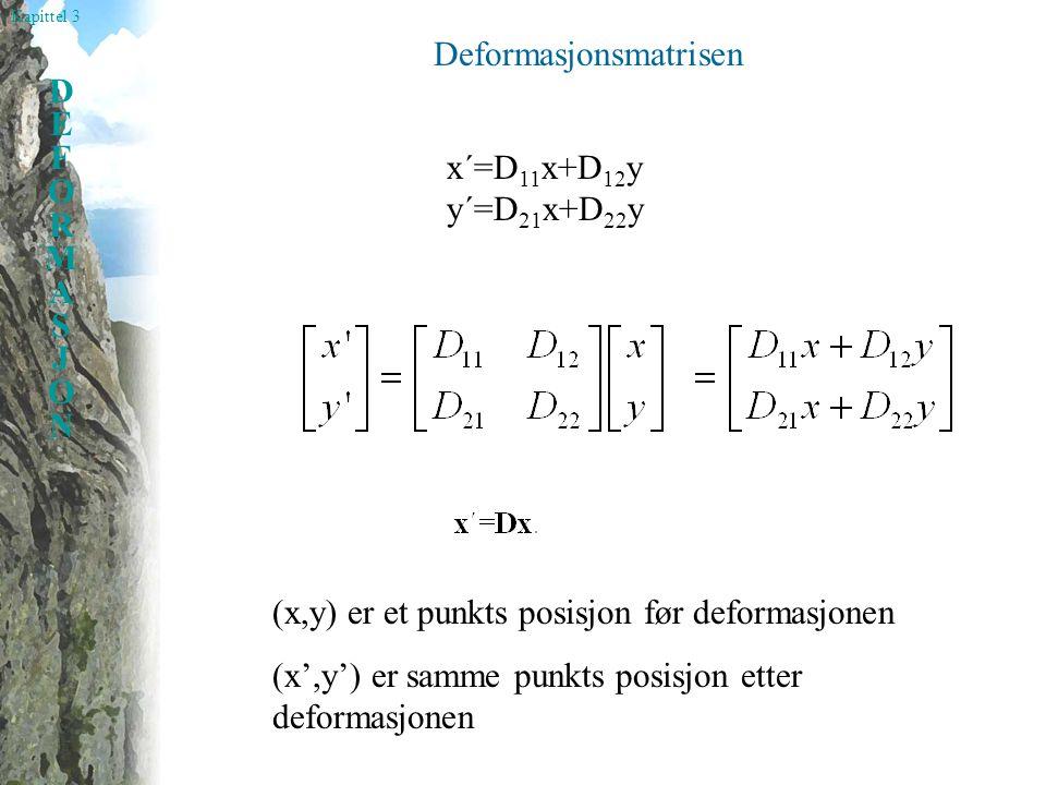 Kapittel 3 DEFORMASJONDEFORMASJON Deformasjonsmatrisen x´=D 11 x+D 12 y y´=D 21 x+D 22 y (x,y) er et punkts posisjon før deformasjonen (x',y') er samm