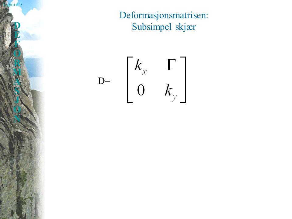 Kapittel 3 DEFORMASJONDEFORMASJON Deformasjonsmatrisen: Subsimpel skjær D=