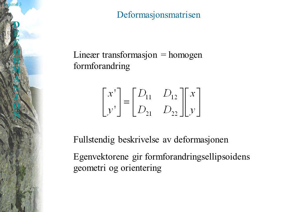 Kapittel 3 DEFORMASJONDEFORMASJON Deformasjonsmatrisen Fullstendig beskrivelse av deformasjonen Egenvektorene gir formforandringsellipsoidens geometri og orientering Lineær transformasjon = homogen formforandring