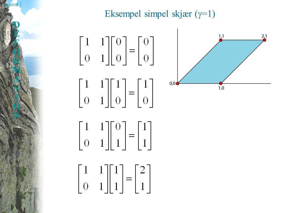 Kapittel 3 DEFORMASJONDEFORMASJON Eksempel simpel skjær (  =1)