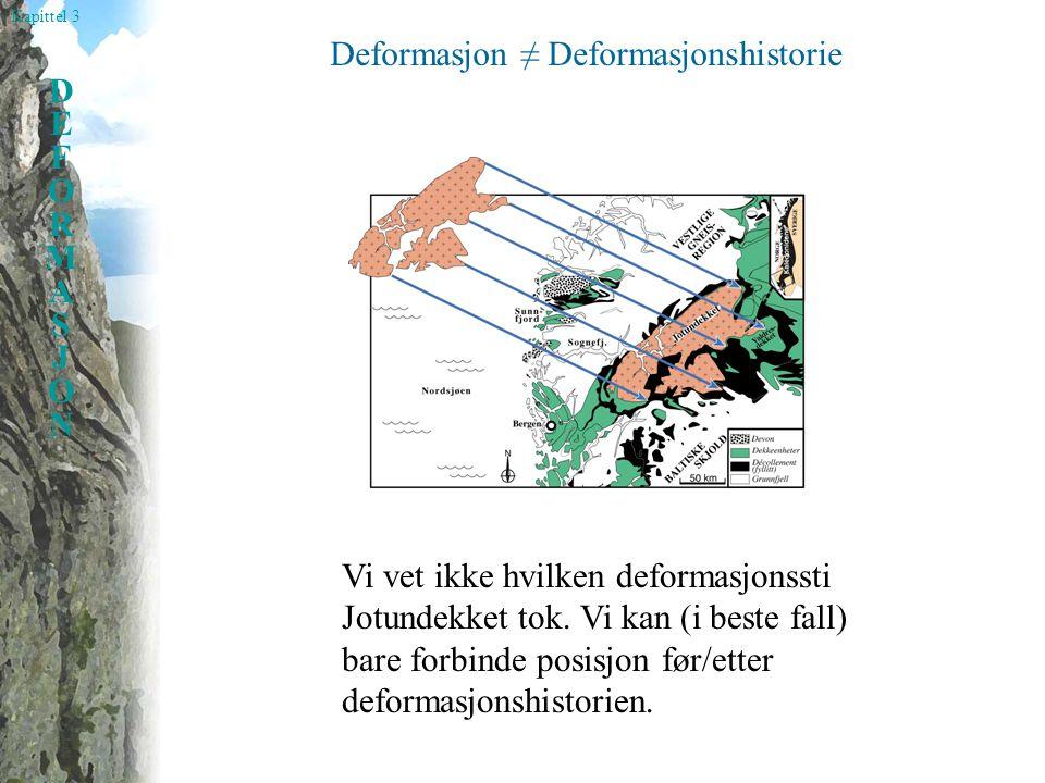 Kapittel 3 DEFORMASJONDEFORMASJON Deformasjon ≠ Deformasjonshistorie Vi vet ikke hvilken deformasjonssti Jotundekket tok. Vi kan (i beste fall) bare f