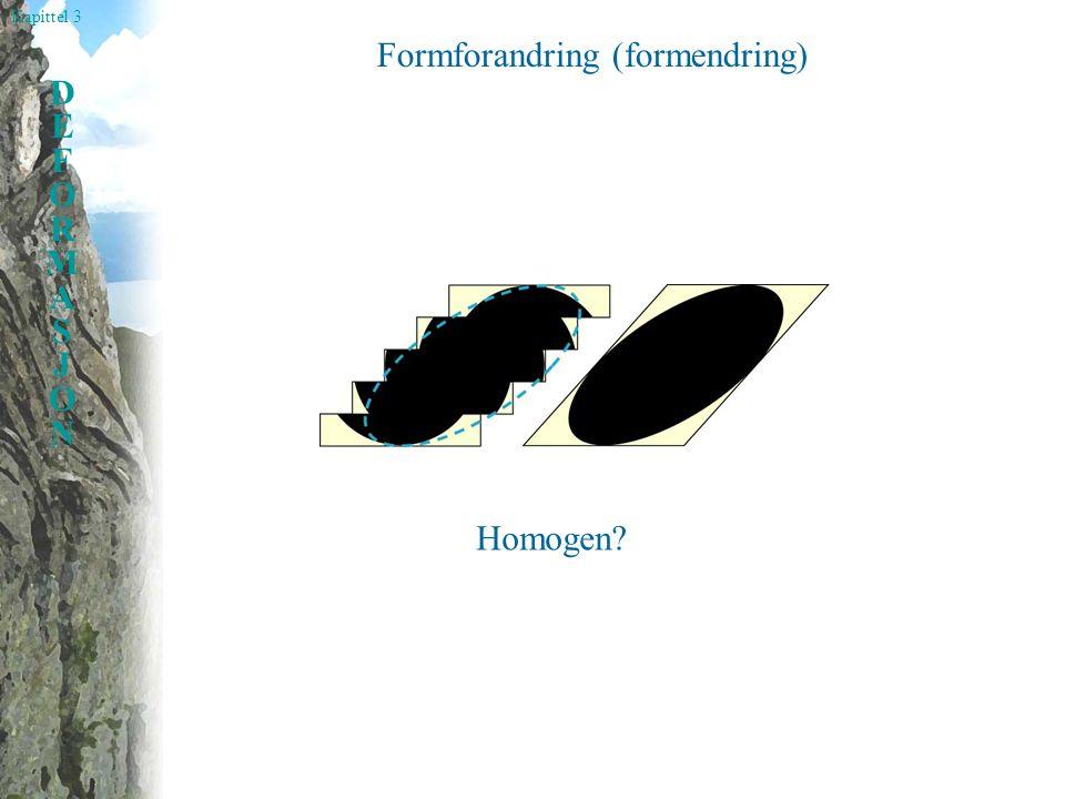 Kapittel 3 DEFORMASJONDEFORMASJON Formforandring (formendring) Homogen?