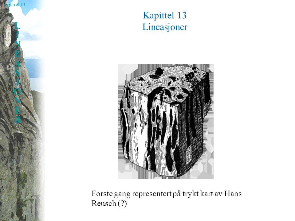 Kapittel 13 LINEASJONERLINEASJONER Lineasjoner Lineasjon= alle slags linjestrukturer i en metamorf bergart Minerallineasjon Skjæringslineasjon Strekningslineasjon Foldeakser Boudinakser Mullions Blyantstrukturer