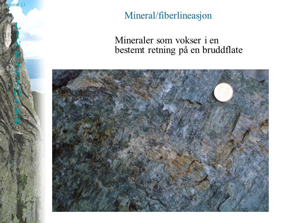 Kapittel 13 LINEASJONERLINEASJONER Mineral/fiberlineasjon Mineraler som vokser i en bestemt retning på en bruddflate