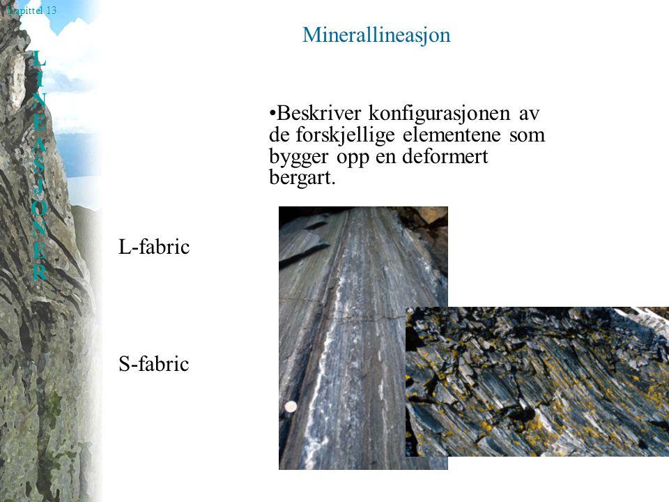 Kapittel 13 LINEASJONERLINEASJONER Strekningslineasjon Dannet ved utstrekning (formforandring) av objekter (mineraler, boller, breksjefragmenter etc.)
