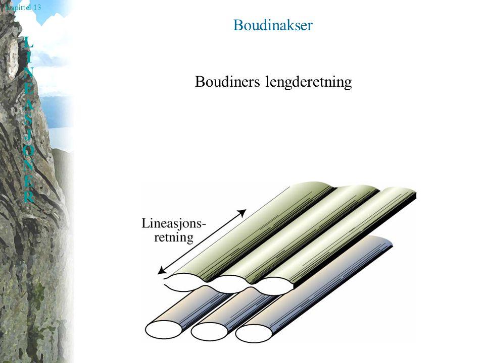 Kapittel 13 LINEASJONERLINEASJONER Boudinakser og folder Beskriver konfigurasjonen av de forskjellige elementene som bygger opp en deformert bergart.