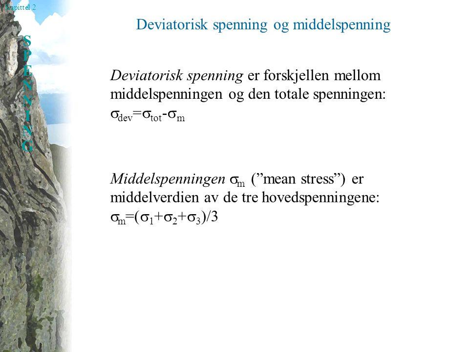 Kapittel 2 SPENNINGSPENNING Deviatorisk spenning og middelspenning Deviatorisk spenning er forskjellen mellom middelspenningen og den totale spenningen:  dev =  tot -  m Middelspenningen  m ( mean stress ) er middelverdien av de tre hovedspenningene:  m =(  1 +  2 +  3 )/3