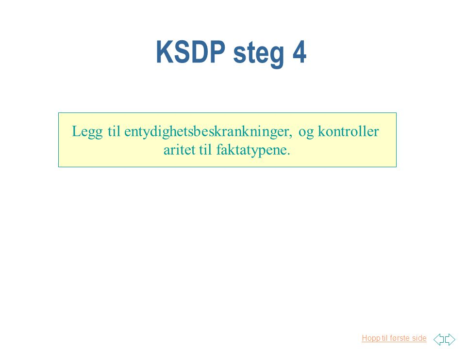 Hopp til første side KSDP steg 4 Legg til entydighetsbeskrankninger, og kontroller aritet til faktatypene.