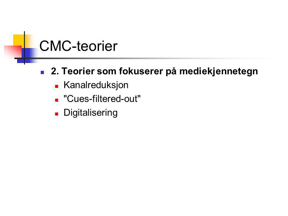 CMC-teorier 2. Teorier som fokuserer på mediekjennetegn Kanalreduksjon