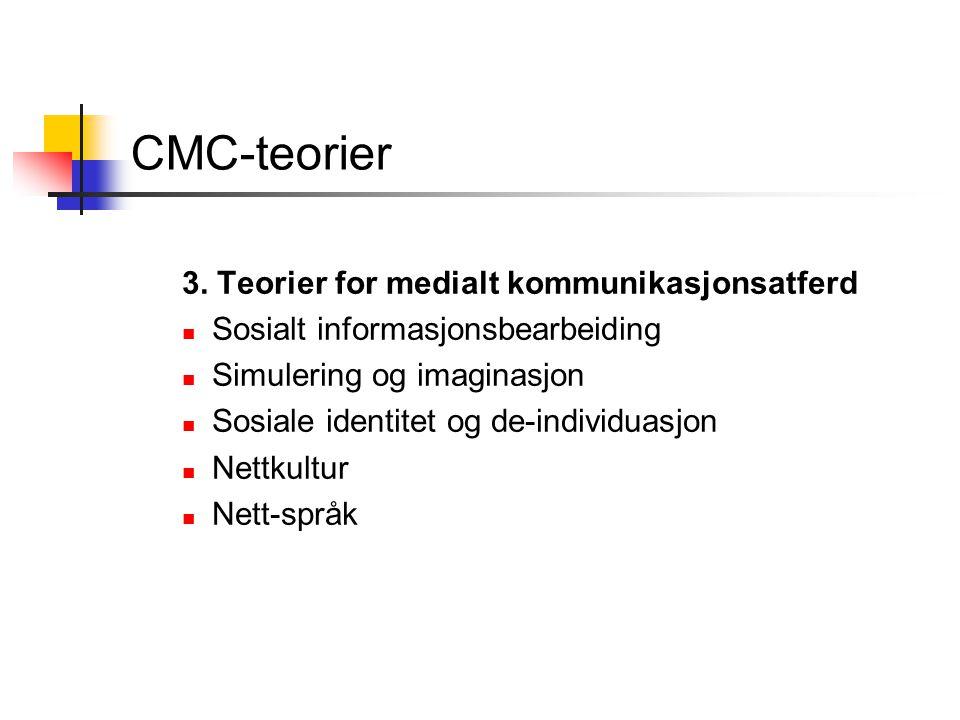 CMC-teorier 3. Teorier for medialt kommunikasjonsatferd Sosialt informasjonsbearbeiding Simulering og imaginasjon Sosiale identitet og de-individuasjo