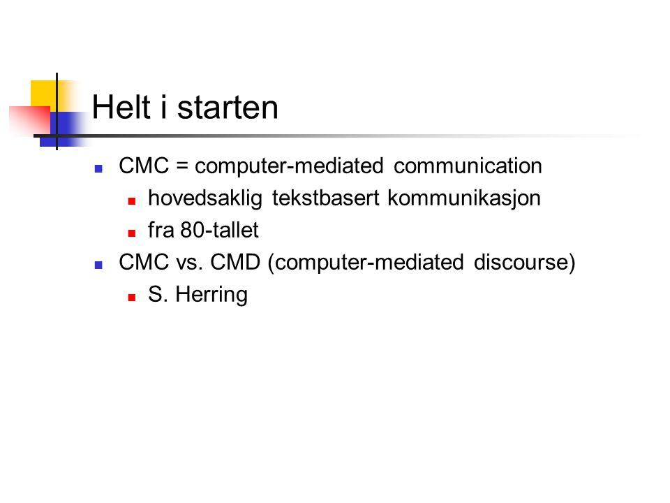 Helt i starten CMC = computer-mediated communication hovedsaklig tekstbasert kommunikasjon fra 80-tallet CMC vs. CMD (computer-mediated discourse) S.