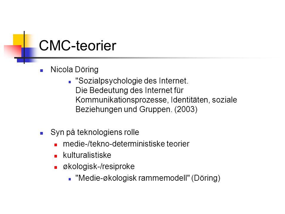 CMC-teorier 3 Hoved-teorigrupper 1.Teorier for medievalg 2.