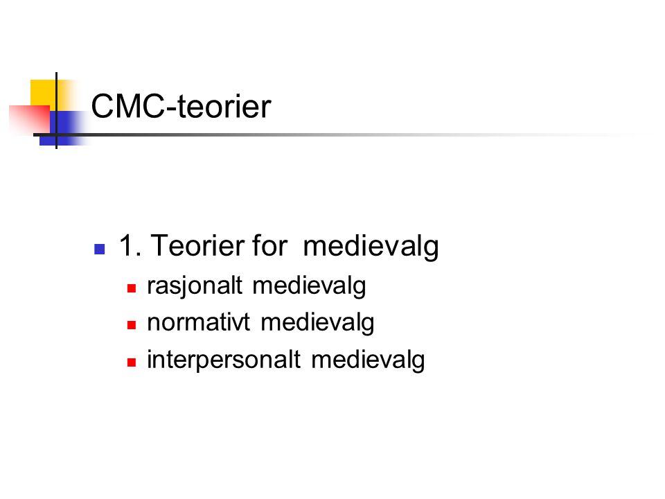 CMC-teorier 1. Teorier for medievalg rasjonalt medievalg normativt medievalg interpersonalt medievalg