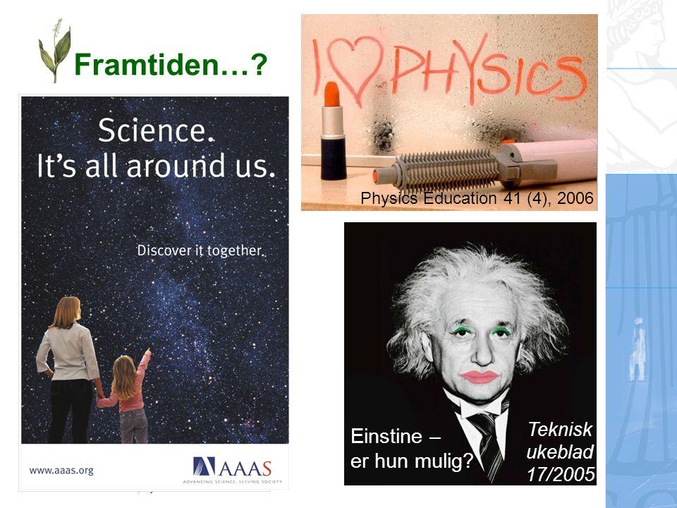 Ellen Karoline Henriksen, Fysisk institutt Framtiden…? Teknisk ukeblad 17/2005 Einstine – er hun mulig? Physics Education 41 (4), 2006