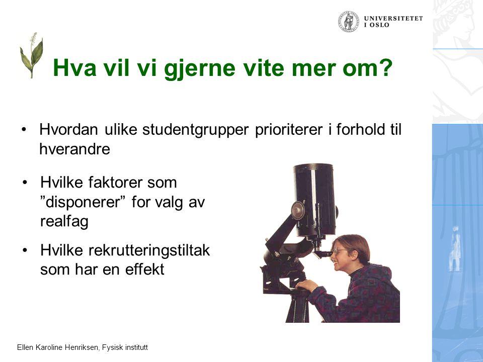 Ellen Karoline Henriksen, Fysisk institutt Hva vil vi gjerne vite mer om? Hvordan ulike studentgrupper prioriterer i forhold til hverandre Hvilke fakt