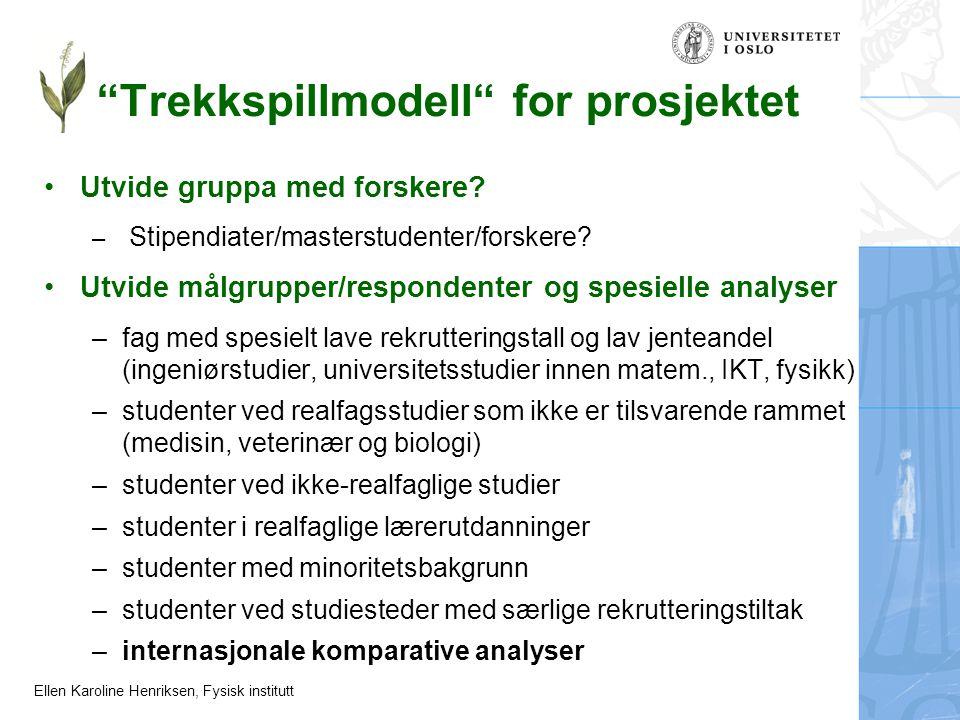 """Ellen Karoline Henriksen, Fysisk institutt """"Trekkspillmodell"""" for prosjektet Utvide gruppa med forskere? – Stipendiater/masterstudenter/forskere? Utvi"""