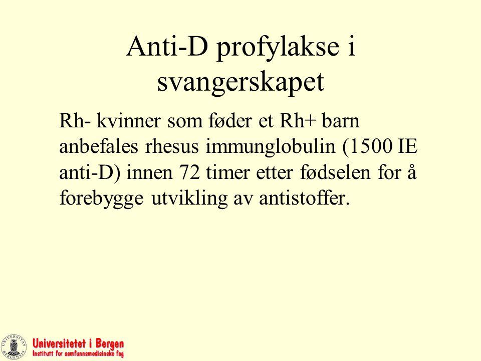 Anti-D profylakse i svangerskapet Rh- kvinner som føder et Rh+ barn anbefales rhesus immunglobulin (1500 IE anti-D) innen 72 timer etter fødselen for å forebygge utvikling av antistoffer.