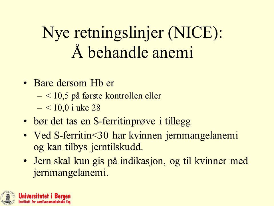 Nye retningslinjer (NICE): Å behandle anemi Bare dersom Hb er –< 10,5 på første kontrollen eller –< 10,0 i uke 28 bør det tas en S-ferritinprøve i tillegg Ved S-ferritin<30 har kvinnen jernmangelanemi og kan tilbys jerntilskudd.