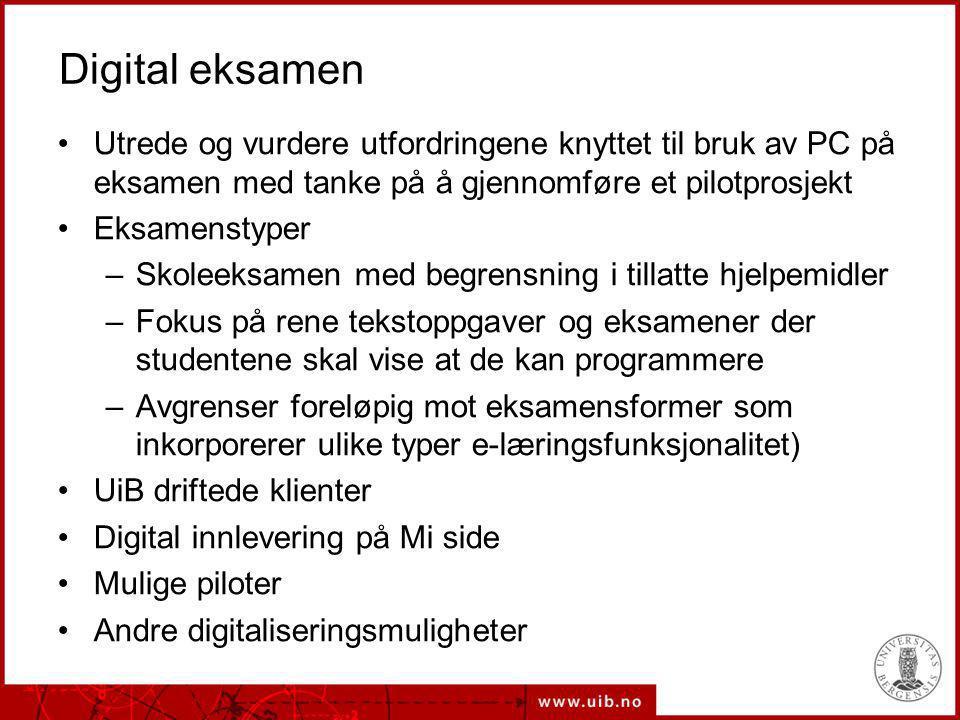 Digital eksamen Utrede og vurdere utfordringene knyttet til bruk av PC på eksamen med tanke på å gjennomføre et pilotprosjekt Eksamenstyper –Skoleeksa