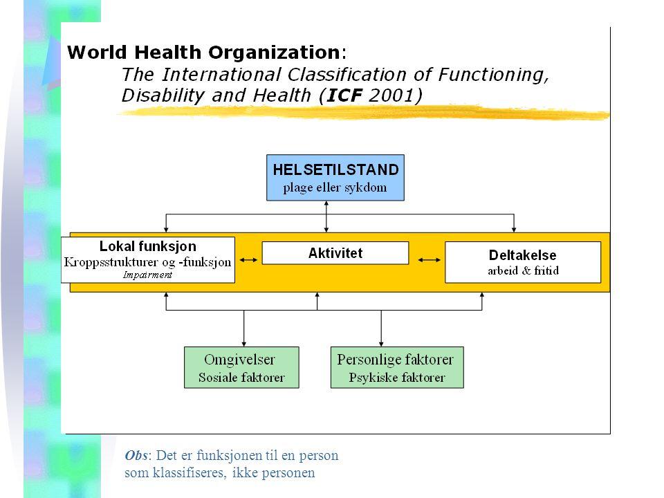 Dimensjonene i ICF DIMENSJON Kroppsfunksjon Kroppsstrukturer Aktiviteter Deltakelse Miljøfaktorer Personlige faktorer FORKLARING Organsystemenes fysiologiske funksjoner (inkl.