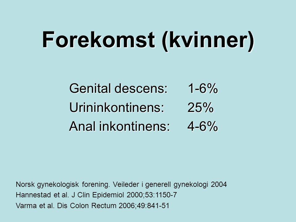 Forekomst (kvinner) Genital descens:1-6% Urininkontinens:25% Anal inkontinens:4-6% Norsk gynekologisk forening. Veileder i generell gynekologi 2004 Ha