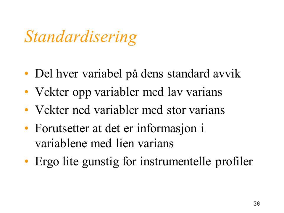 36 Standardisering Del hver variabel på dens standard avvik Vekter opp variabler med lav varians Vekter ned variabler med stor varians Forutsetter at det er informasjon i variablene med lien varians Ergo lite gunstig for instrumentelle profiler