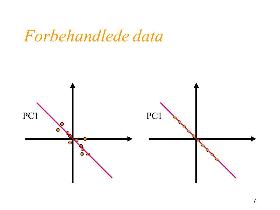 48 Løpende polynom Tilpass et polynom i hvert vindu Savitzky-Golay - glatting Må velge graden til polynomet