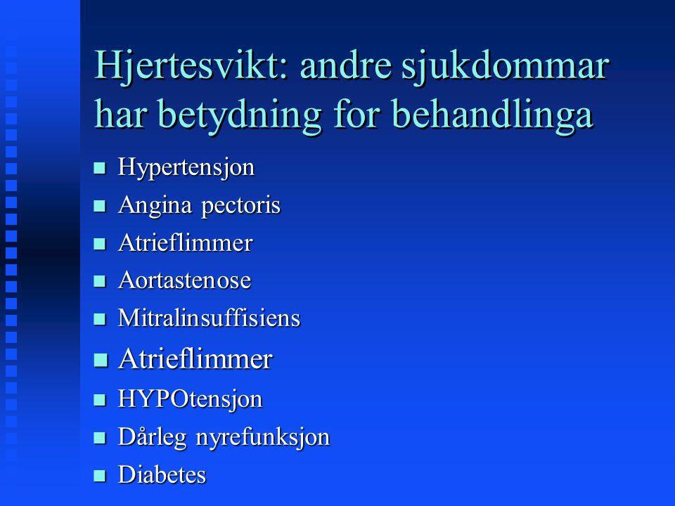 Hjertesvikt: andre sjukdommar har betydning for behandlinga n Hypertensjon n Angina pectoris n Atrieflimmer n Aortastenose n Mitralinsuffisiens n Atri