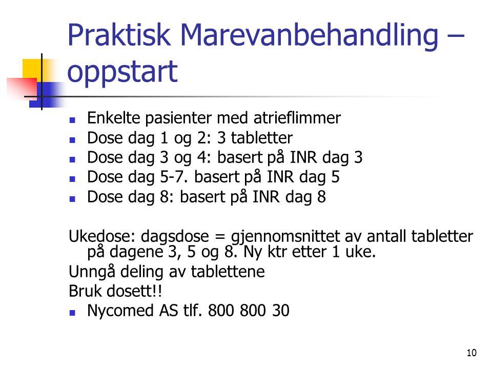 10 Praktisk Marevanbehandling – oppstart Enkelte pasienter med atrieflimmer Dose dag 1 og 2: 3 tabletter Dose dag 3 og 4: basert på INR dag 3 Dose dag