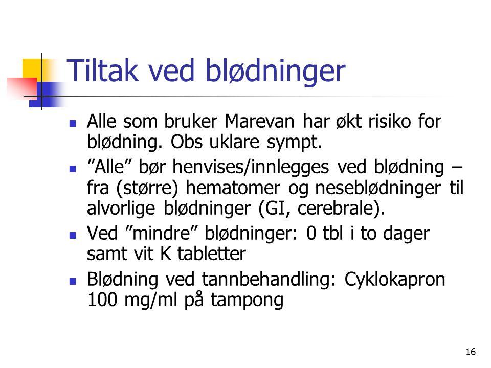 16 Tiltak ved blødninger Alle som bruker Marevan har økt risiko for blødning.