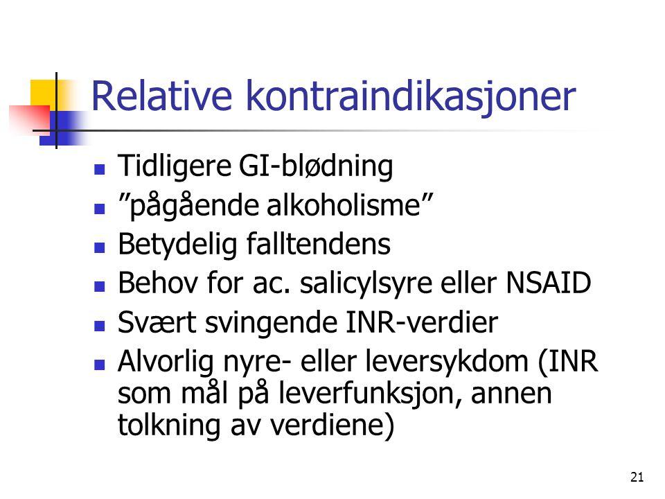 21 Relative kontraindikasjoner Tidligere GI-blødning pågående alkoholisme Betydelig falltendens Behov for ac.