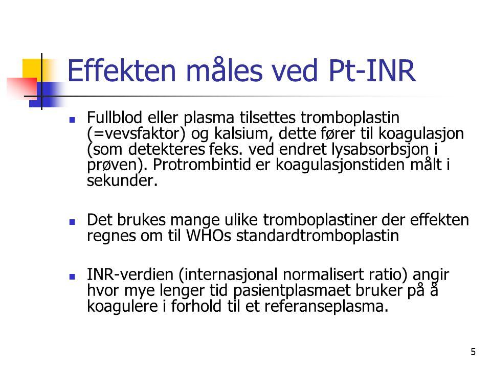 5 Effekten måles ved Pt-INR Fullblod eller plasma tilsettes tromboplastin (=vevsfaktor) og kalsium, dette fører til koagulasjon (som detekteres feks.