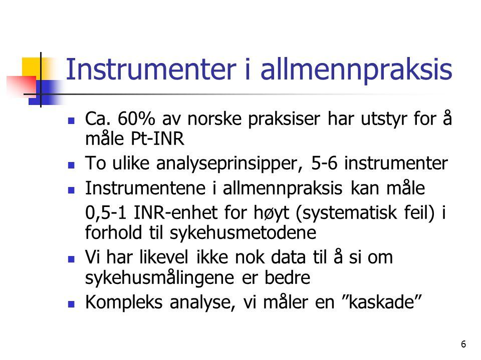 6 Instrumenter i allmennpraksis Ca. 60% av norske praksiser har utstyr for å måle Pt-INR To ulike analyseprinsipper, 5-6 instrumenter Instrumentene i