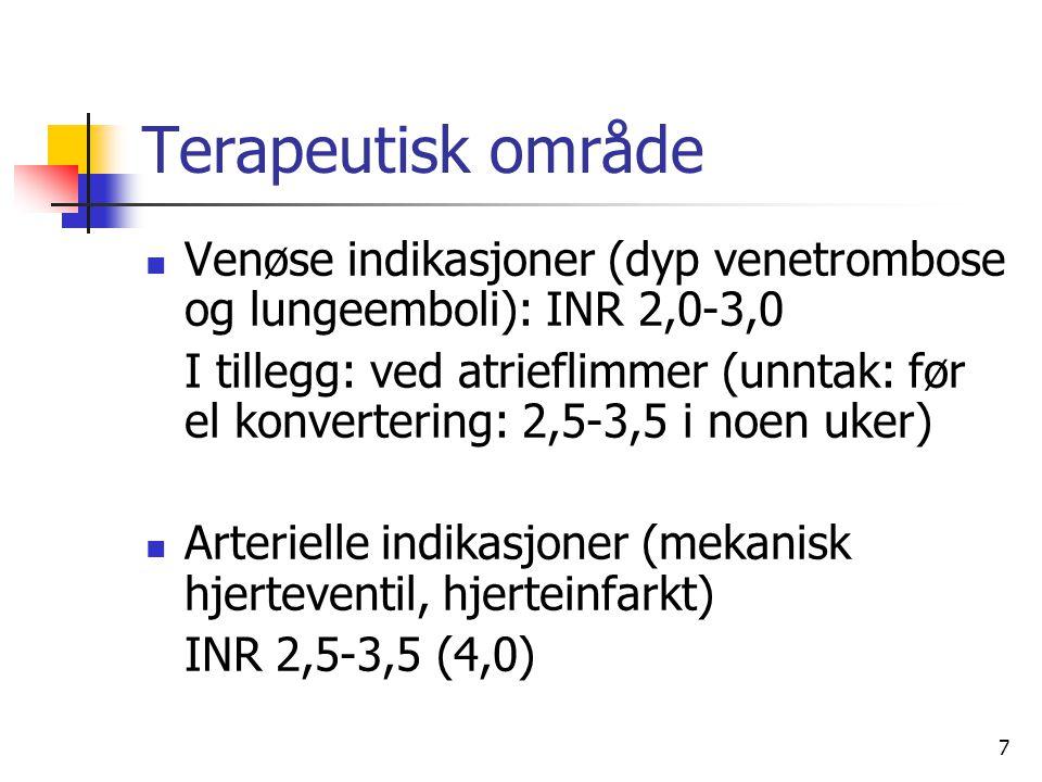 7 Terapeutisk område Venøse indikasjoner (dyp venetrombose og lungeemboli): INR 2,0-3,0 I tillegg: ved atrieflimmer (unntak: før el konvertering: 2,5-3,5 i noen uker) Arterielle indikasjoner (mekanisk hjerteventil, hjerteinfarkt) INR 2,5-3,5 (4,0)
