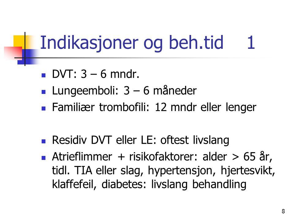 8 Indikasjoner og beh.tid 1 DVT: 3 – 6 mndr. Lungeemboli: 3 – 6 måneder Familiær trombofili: 12 mndr eller lenger Residiv DVT eller LE: oftest livslan