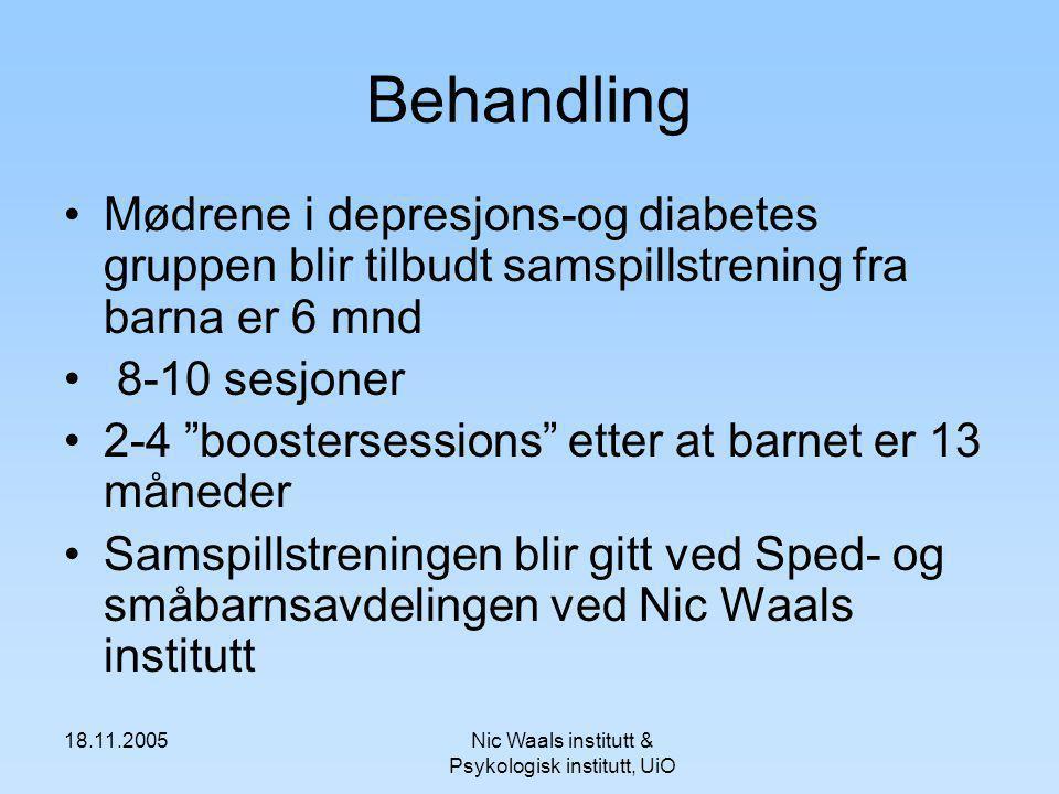 18.11.2005Nic Waals institutt & Psykologisk institutt, UiO Behandling Mødrene i depresjons-og diabetes gruppen blir tilbudt samspillstrening fra barna