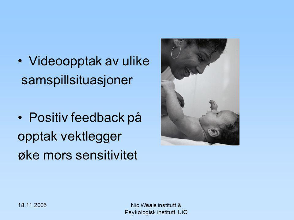 18.11.2005Nic Waals institutt & Psykologisk institutt, UiO Videoopptak av ulike samspillsituasjoner Positiv feedback på opptak vektlegger øke mors sen