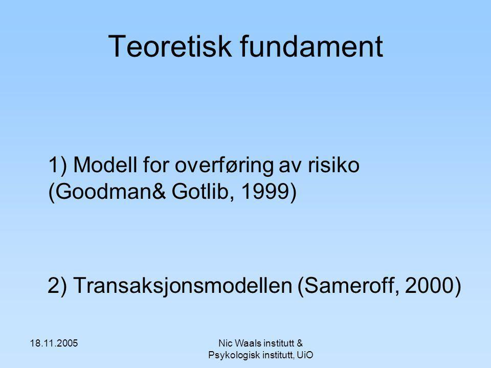 18.11.2005Nic Waals institutt & Psykologisk institutt, UiO Teoretisk fundament 1) Modell for overføring av risiko (Goodman& Gotlib, 1999) 2) Transaksjonsmodellen (Sameroff, 2000)